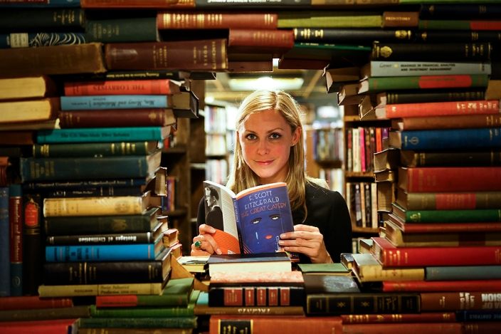 Musician Blake Hazard, great-granddaughter of F. Scott Fitzgerald, poses for a portrait with The Great Gatsby at The Last Bookstore on Tuesday, May 7, 2013 in Los Angeles, Calif. (© 2013 Patrick T. Fallon
